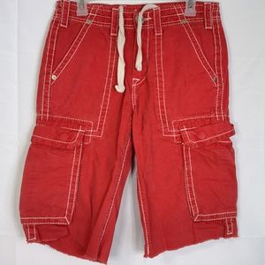 TRUE RELIGION RED CARGO SHORTS RN #112790 SIZE 28